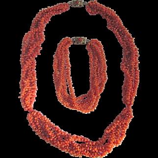 Antique 12kt GF Georgian Natural Carved Coral Necklace and Bracelet Certified Appraisals $2795