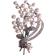 Vintage Fine A Plus Quality Cultured Pearl Floral Spray Silver 850 Brooch