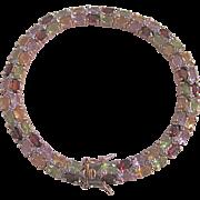 Vintage Vermeil Diamond/Garnet/Peridot/Citrine/Pink Topaz Tennis Bracelet Certified Appraisal $1770