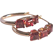 Vintage 14kt Andradite Garnet Square Cut Gem Hoop Earrings Certified Appraisal $695