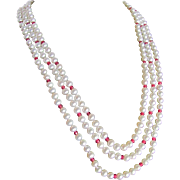 "Vintage 14kt Ruby / Cultured Saltwater Delta Pearl Triple Strand 22""20""19"" Necklace Certified Appraisal $3185"