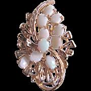 Vintage Opal GP Floral Spray Brooch Certified Appraisal $500