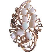 Vintage Opal GP Floral Spray Brooch Certified Appraisal $500