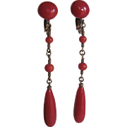 Vintage Oxblood Natural Mediterranean Coral 12Kt GF Vermeil Drop Earrings Certified Appraisal $950