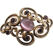 Baroque Style Vintage 14K & Sterling Signed Symmetalic Lab Created Pink Cats Eye with Rhodolite Garnets Brooch