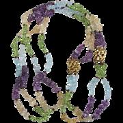Vintage Gemstone Rough Beads in Amethyst, Citrine, Peridot and Blue Topaz GP Necklace/Bracelet