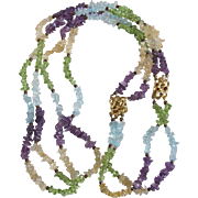 Brutalist Vintage Gemstone Rough Beads in Amethyst, Citrine, Peridot and Blue Topaz Necklace/Bracelet Certified Appraisal $1820 Total