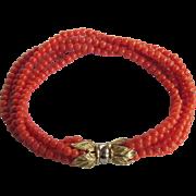 Vintage 18k Mediterranean Sardinian Red Natural Coral 5 Strand Torsade Bracelet Certified Appraisal $1610