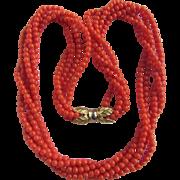 Vintage 18k Mediterranean Sardinian Red Natural Coral 5 Strand Torsade Necklace Certified Appraisal $3160