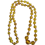 Vintage Baltic Rare Greenish/Yellow Amber Graduated 23 Grams Necklace Certified Appraisal $750