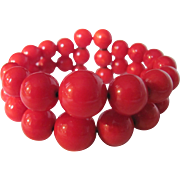 Art Deco Bakelite Lipstick REd Memory wire Cuff Bracelet