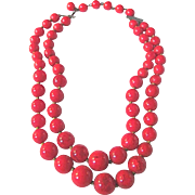 Art Deco Bakelite Lipstick RED 2 Strand Graduated Necklace