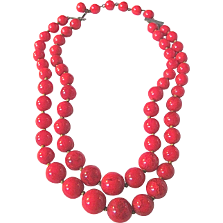 Art Deco Bakelite Lipstick RED 2 Strand Graduated Necklace