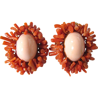 Vintage Signed de Lillo NY Resin Coral Cabochon with Genuine Salmon Branch Coral Clip Earrings