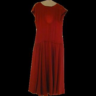 Vintage 80's Kenar 2 Lipstick Red Silk SIZE 10 Evening Drop Waist Dress