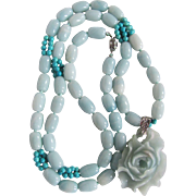 "Vintage Amazonite and Turquoise Bead Necklace 34"" with Carved Rose Pendant Certified Appraisal $2235"