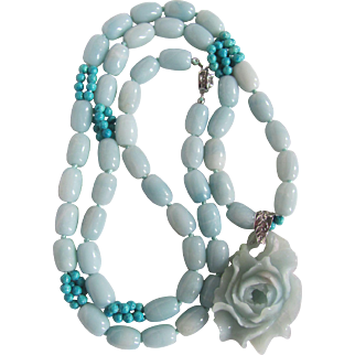 """Vintage Amazonite and Turquoise Bead Necklace 34"""" with Carved Rose Pendant Certified Appraisal $2235"""
