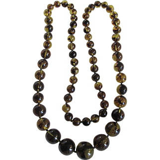 Vintage Baltic Rare Olive Green Amber Graduated Necklace Certified Appraisal $2680