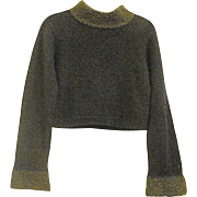 Vintage Made in France Verga Paris Wool Amber /Dark Olive Boucle Style Knit Sweater