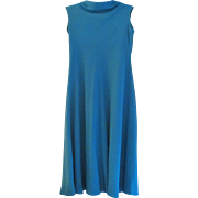 70's Hand Made Maxi in Turquoise Ribbed Synthetic Knit Fabric A line Dress
