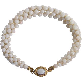 Vintage 18kt GP Natural Angel Skin Coral Woven with Opal Bracelet Certified Appraisal $1550