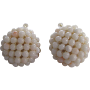 Vintage GP Natural Angel Skin Coral Woven Dormeuse Pierced Earrings Certified Appraisal $980