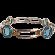 Art Deco 10K GF Engel Brothers Swiss  Blue Topaz Link Bracelet Certified Appraisal $850