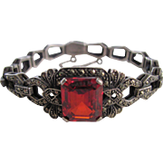 Early-mid 20th Century Lab Created Rare Rutile Marcasite Sterling Bracelet Certified Appraisal $1385