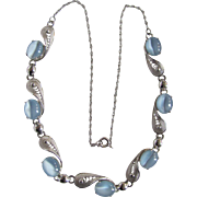 Vintage Sterling Silver Signed Alice Caviness Aquamarine Glass Moonstones Necklace