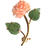Vintage Natural Angel Skin Pink Coral and Serpentine Leaves and Carved Rose Flower Brooch Certified Appraisal $475