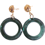 Vintage Teal Green Lucite Facetted Open Circle Filagree Pierced Earrings