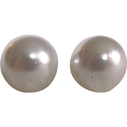 Vintage 20mm Giant Shell & Glass Pearl with Sterling Silver Screw Pierced Posts Earrings