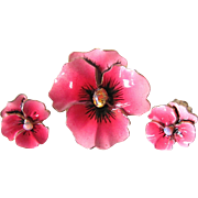Vintage Unsigned Beautiful Hand Painted Enamel Pink Pansy with Opals/Fire Opals Clip On Earring and Brooch Demi Parure