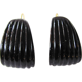 Vintage Sculpted Curved GP Dormeuse Resin Washed Celluloid Pierced Earrings