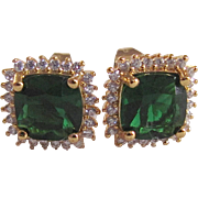 Vintage Emerald Paste Cushion Cut with White Paste Round Halo of Gems GP Pierced Earrings