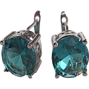Vintage Sterling Silver Aquamarine Paste Gemstone Leverback Hinged Pierced Earrings