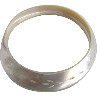 Victorian Carved Mother of Pearl Single Piece Shell Bangle Bracelet