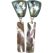 Little Creations Mother of Pearl and Lucite Embedded Omega Pierced Earrings