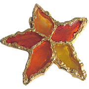 Vintage Brutalist Sculpted Design - Poured Resin Plique a Jour GP Flower/Star Brooch Signed Joy