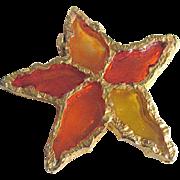 """Vintage Brutalist Sculpted Design - Poured Resin Plique a Jour GP Flower/Star Brooch Signed """"Joy"""""""