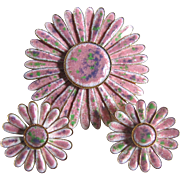 Vintage Finely Crafted Enamel Flower Motif Brooch and Clip Earring Set