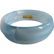 Mid Century Made in Italy Lucite Pale Blue and White Swirl Bangle