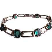Art Deco 10kt GF Blue/Green Colored Paste Stones Engel Brothers Link Bracelet Certified Appraisal $435