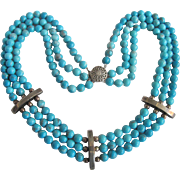 Vintage Appraised $1535 Sterling Silver Triple Strand Enhanced Turquoise Necklace