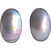 Vintage Natural Color Grey Blue Cultured Mabe Pearl Sterling Silver Clip Earrings $$1050