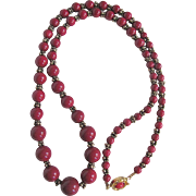 Vintage Graduated Dyed Oxblood REd Quartz 6-14mm Necklace Certified Appraisal $1215