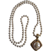 Vintage Signed Kenneth Lane Glass Pearl and GP Chain Necklace Pendant