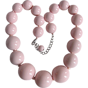 Mid Century Graduated Huge 28mm Lucite Pink Bead Necklace -- British Estate Pop Art Style