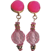Little Creations Pink Rock Crystal and Pink Dyed Chalcedony Facetted Cabochon Pierced Earrings