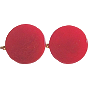 Art Deco Red Bakelite Marbled Disc 18mm with Omega Pierced Earrings